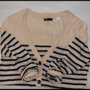 Nautical striped cream & navy light cardigan